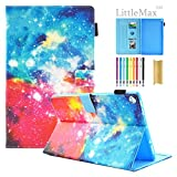 HD 10 Case,LittleMax(TM) PU Synthetic Leather Case Flip Cover Gel Protective Cover with Auto Wake/Sleep for Amazon Kindle Fire HD 10.1 Inch 7th Gen & 5th Gen [One Free Stylus]-# Colorful Galaxy