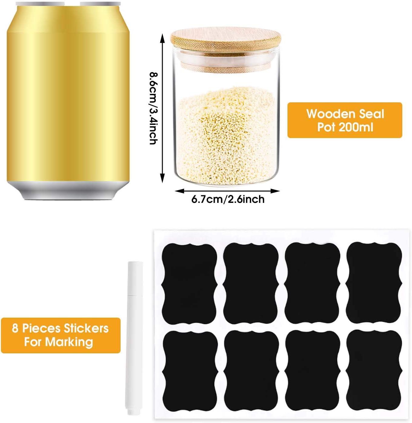 Cocina Bote de Especias Contenedores para Comida T/é /& Az/úcar 7.5oz Peque/ños Cristal Frascos de Especias con Tapas de Bamb/ú 12Pcs Hermetico Tarro de Vidrio de Almacenamiento