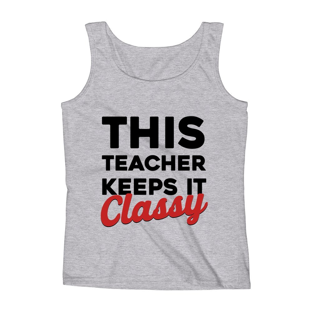 Mad Over Shirts This Teacher Keeps It Classy Unisex Premium Tank Top