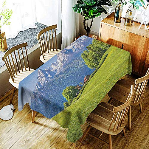 XXANS Outdoor Tablecloth Rectangular,Europe,Blooming Flowers Snowcapped Mountain Tops in Background National Park Bavaria,Table Cover for Dining,W60X90L Green Sky Blue