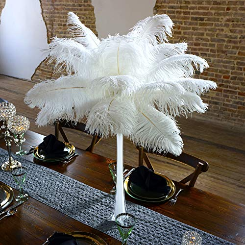 ZUCKER 24 pc 13-16 inch Feather Centerpiece for Wedding Table Decor with 24 inch Eiffel Tower Vase - White -