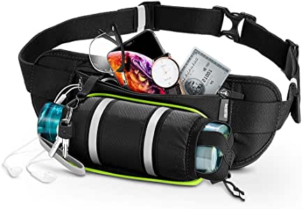 """ESR Hydration Waist Pack, Running Belt with Water Bottle Holder and Adjustable Strap, Large-Pocket Waist Bag, Phone Holder Fits Phones up to 6.5"""", Running Pouch for Men and Women, Black"""