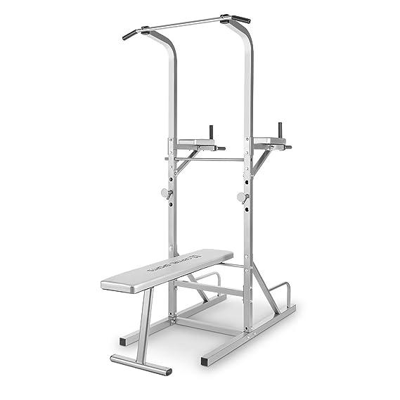 CAPITAL SPORTS Spiris Torre ejercicios multifunción (Press de banca, levantamiento piernas, flexiones, fondos, sentadillas, entrenamiento gimnasio en casa, ...