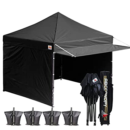 ABCCANOPY 10x10 Easy Pop up Canopy Tent Instant Shelter Commercial Portable  Market Canopy Matching Sidewalls, Weight Bags, Roller Bag,Bonus 23 Square