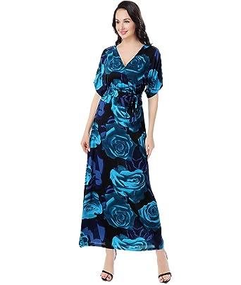 d852e361a06 Preferhouse Women s Plus Size Maxi Dress V-Neck Self-Tie Belt Blue at Amazon  Women s Clothing store