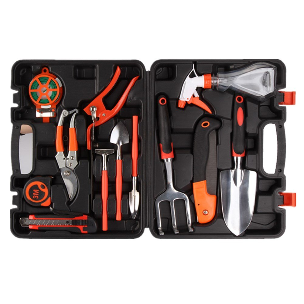 P&B Durable Garden Gardening Tools Set 12pc Garden Hand Tools Kit Plant Care Including Anti-rust Trowel Fork with Portable Storage Case - Gift for Gardeners BP