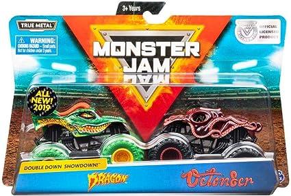 Amazon Com Monster Jam Official Dragon Vs Octon8er Die Cast Monster Trucks 1 64 Scale 2 Pack Toys Games
