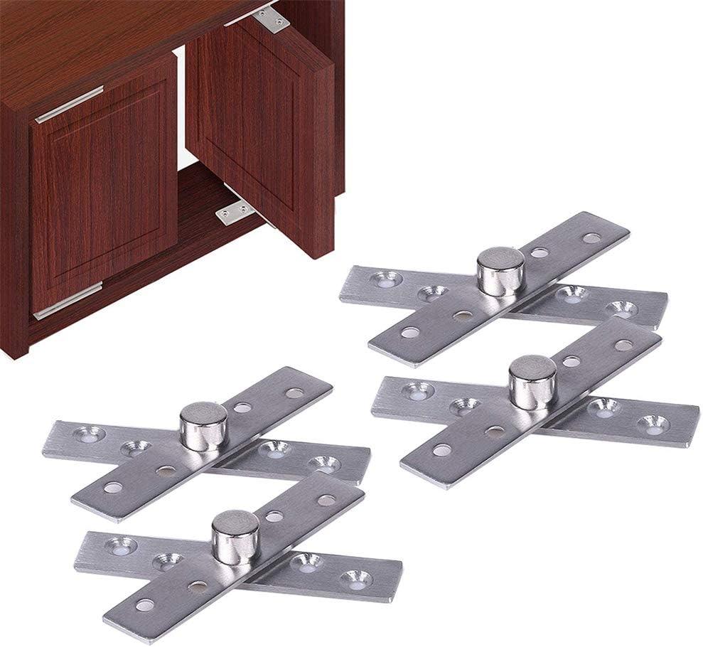 4 Piezas Bisagras Pivotantes para Puerta de 360 Grados, Bisagras Pivotantes de Central de Oculta, Bisagras de Acero Inoxidable para Puerta, para Gabinete de Ventana de Puerta