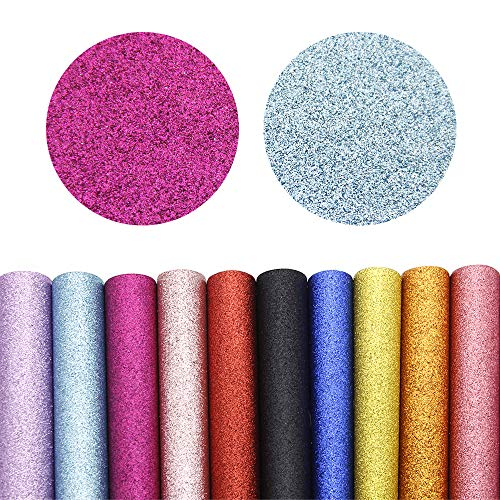 David accessories Shiny Superfine Glitter Faux Leather Sheets Solid Color Synthetic Leather Fabric 21 Pcs 8 x 13''(20 x 34cm) Canvas Back Assorted Colors for DIY Earrings Hair Bows Making (21 Colors) by David accessories (Image #2)
