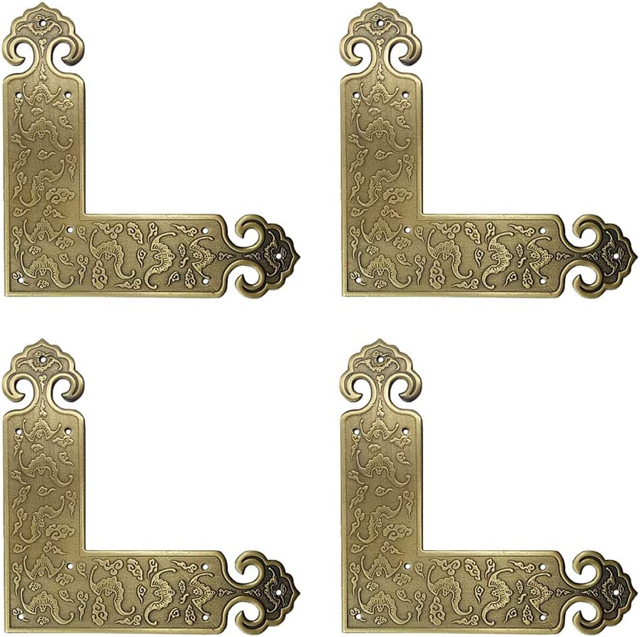 Tiazza 4Pcs Antique Embossing Brass Decorative Corner Protectors Braces Classical Furniture Tables and Chairs Cabinet Corner Guard Edge Cover