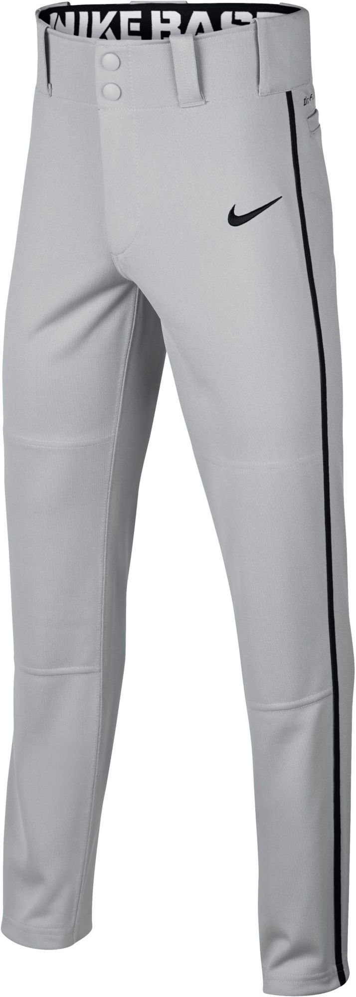 Nike Boy's Swoosh Piped Dri-FIT Baseball Pants (Grey/Black, Large)