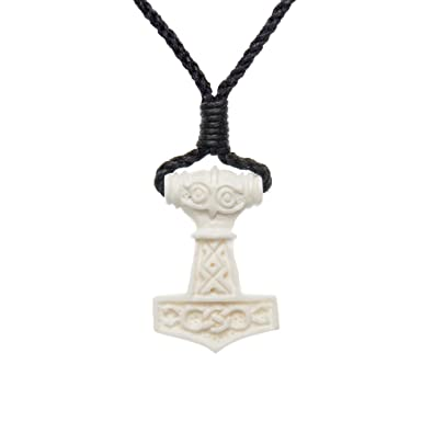 81stgeneration Women's Men's Handcarved Bone Celtic Norse Thor Hammer  Amulet Charm Pendant Necklace