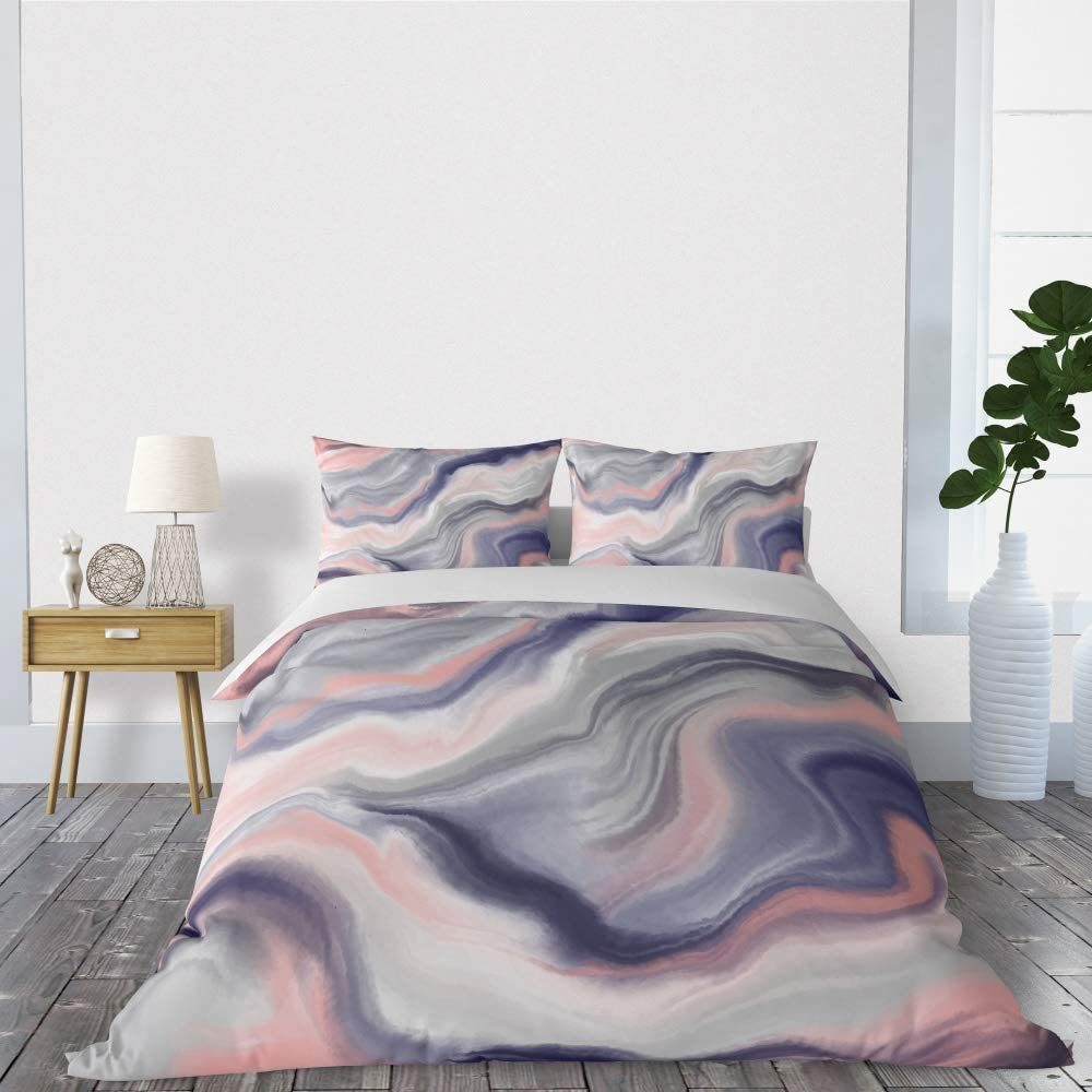 SHINICHISTAR Marble Design Duvet Cover Set, Abstract Stone Nature Art, Decorative 3 Piece Bedding Set with 2 Pillows sham, King Size