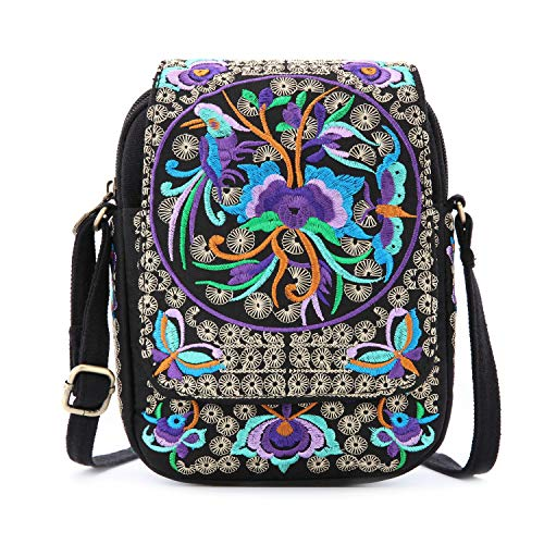 Goodhan Vintage Printed Handmade Women Mini Crossbody Bag Cellphone Pouch Small Handbag Coin Purse (Style 01: BIGGER Version - Purple Multicolor)