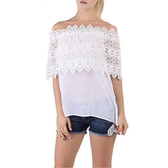 Rcool Mujeres Atractivas Fuera del Hombro Top Casual Blusa Encaje Crochet Chiffon Shirt (M,