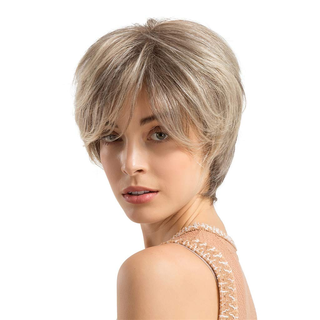 Wig,SUPPION 24cm Gray Short Curly Hair Hairstyle Human Hair Wigs for Beautiful and Generous - Casual/Cosplay/Party Wig (A)