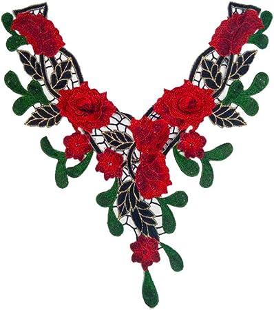 Wicemoon 1pcs Cuello de Flores Rojas Ropa Bordado Parches Camisa de La Mujer Vestido Apliques 42cm * 26cm: Amazon.es: Hogar