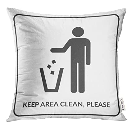 Amazon Emvency Throw Pillow Cover Keep Clean Do Not Litter Sign