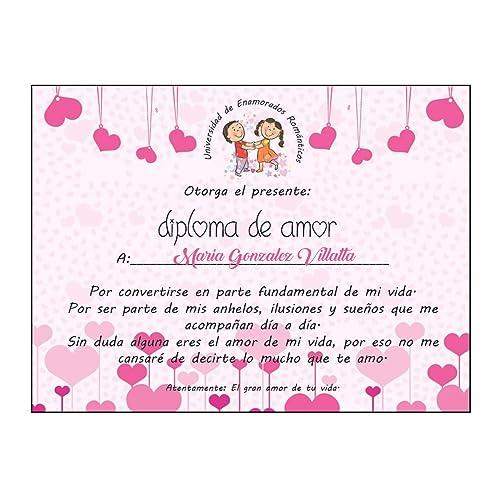 b724fbe082c Regalo Pareja Enamorados/Diploma de Amor Personalizado /Novio/Novia/Chico/Chica