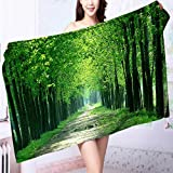 AmaPark Microfiber Towels Green Trees Multipurpose, Quick Drying L55.1 x W27.5 INCH
