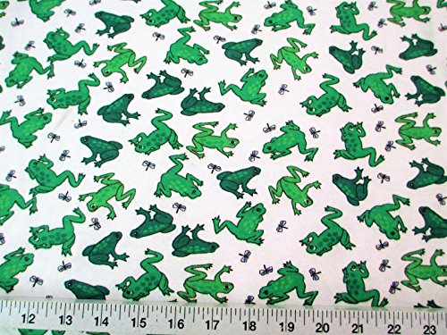 Paylessfabric Fabric Cozy Cotton Flannel Green Frogs and Dragonflies K409