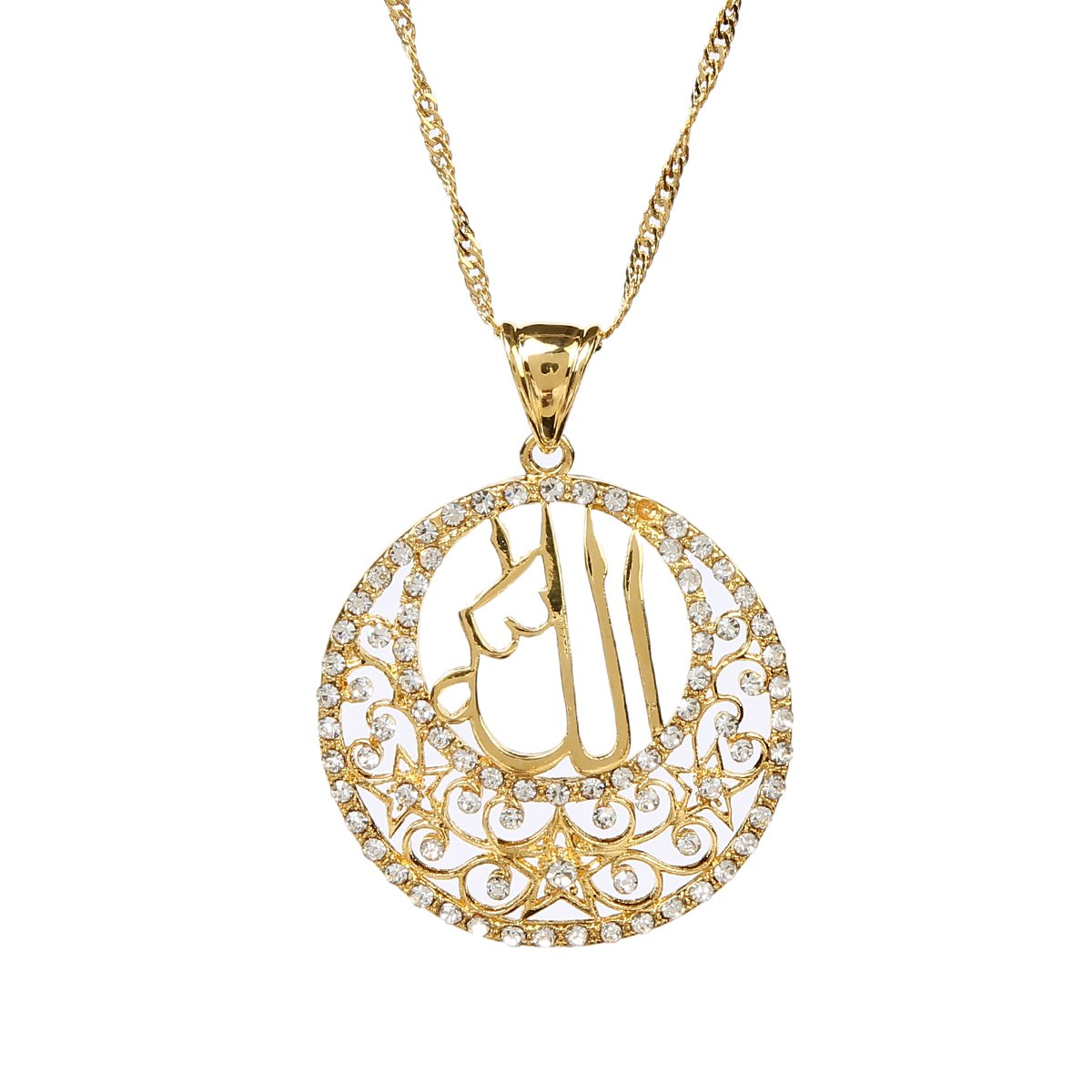 bca23f349a8 Glaze Round Pendant Jewelry 24k Gold Plated Religious Islamic Muslim Allah  Crystal Pendant: Amazon.ca: Jewelry