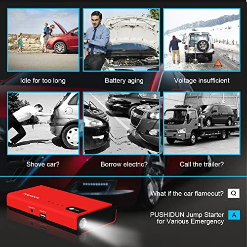 Asdomo 89800mah Portable Car Battery Jump Starter Outdoors Travel Smart Emergency Starting Device 600A Peak Power Bank Car Charger Auto Booster High-Speed mobile phones laptops Power Banks