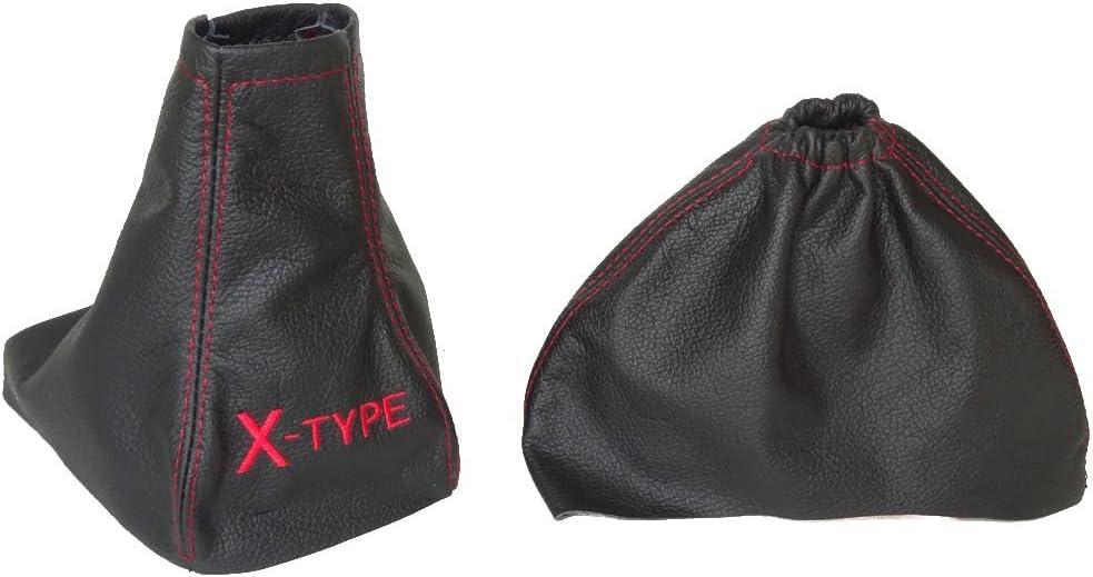 Pour Jaguar X-Type 2001 09/Frein /à main Gear en cuir et Gu/être Noir en Cuir Italien Rouge X-Type Logo Brod/é