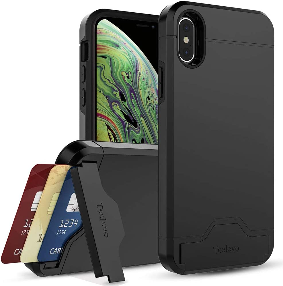 Teelevo Wallet Case for iPhone Xs (2018), Dual Layer Case with Card Slot Holder and Kickstand for iPhone Xs and iPhone X - Black