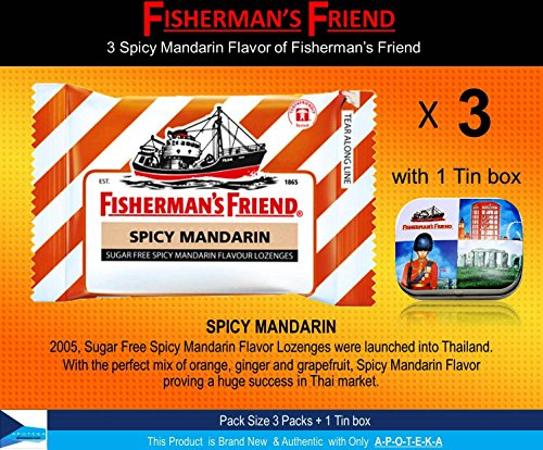 Fisherman's Friend Lozenges Spicy Mandarin Flavor Not Found in Fisherman's Friend U.S. (3 Flavors of Pack with 1 Mini Tin Boxes) Good Taste with Effective for Extra Strong Cough Suppressant Lozenges and Tin Box Collectibles (Gold Lozenge)