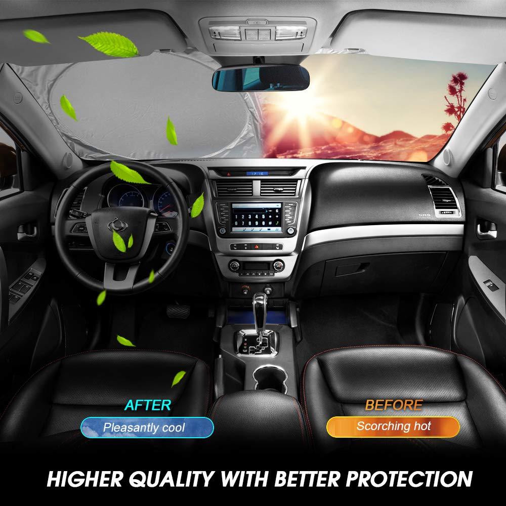 Homein Car Sun Shade for Windshield Visor Protector UV Reflector Blocks Rays Deflector Interior Dashboard Protector Keeps Vehicle Cool Fits Sedan//SUV and Most Auto 57x29