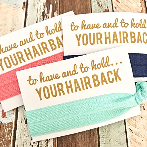Bachelorette Hair Tie Party Favors (Assorted Solid Pastels) - Set of 5