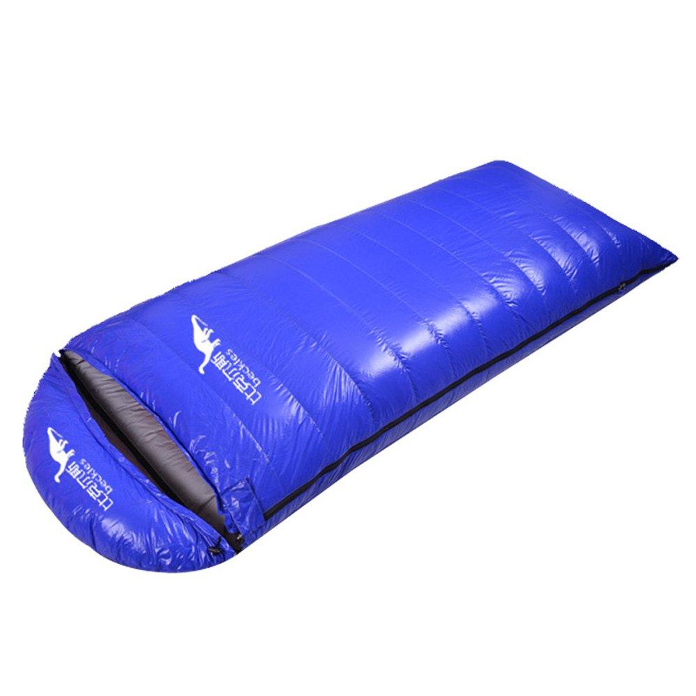 Topway 3 Seasons Goose Downポータブル長方形封筒キャンプハイキング旅行アウトドアSleeping Bag withキャップ B017TRRWIO Down (1000g) ブルー ブルー Down (1000g)