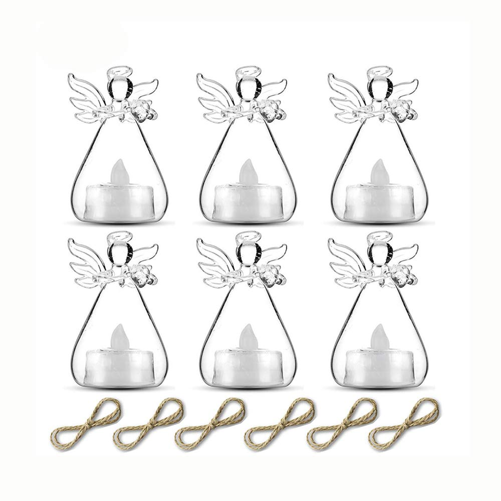 Hanging Glass Led Tealight Candle Holders Angel Candleholders with Led Tealight Candle Inside Votive Decoration for Wedding Party Restaurant Hotel Garden Decoration (Angel Led Tea Light) Fuzhou cangshan