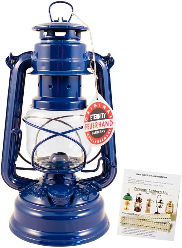 "Feuerhand Hurricane Lantern - German Made Oil Lamp - 10"" with Care Pack (Blue)"