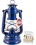 """Feuerhand Hurricane Lantern - German Made Oil Lamp - 10"""" with Care Pack (Blue)"""