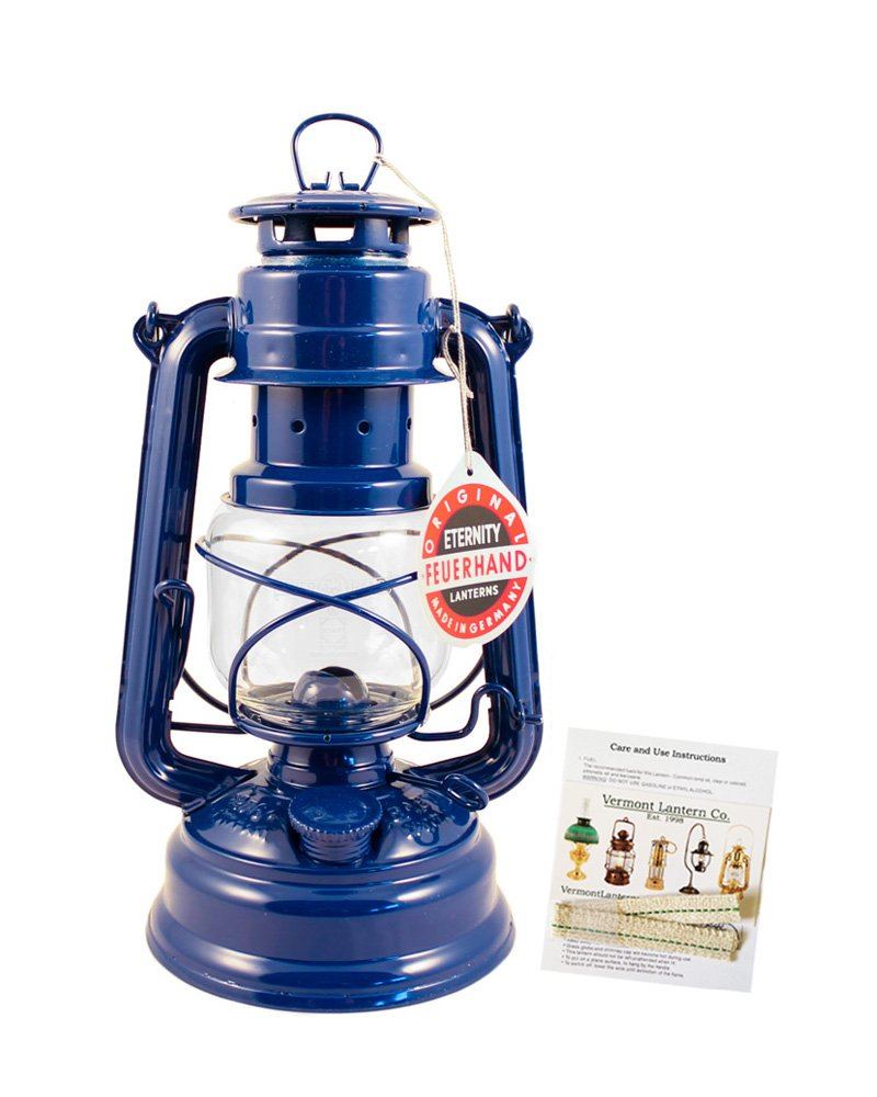 Feuerhand Hurricane Lantern - German Made Oil Lamp - 10'' with Care Pack (Blue)