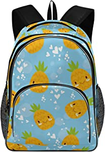 College School Laptop Backpack 15.6 Inch - Pineapple Heart Waterproof Students Daypack with USB Charging Port for Women Gift