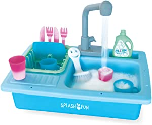 SPLASHFUN Wash-up Kitchen Sink Play Set, Color Changing Play Cups & Accessories, Running Water Pretend Play, 15 pieces, Age 3+, Kitchen Toy Set with Working Faucet, Easy Storage [Amazon Exclusive]