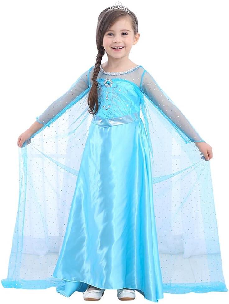 URAQT Disfraz de Princesa Frozen Elsa, Traje del Vestido, Traje de Princesa de la Nieve Vestido Infantil Disfraz de Princesa de Niñas para Frozen Themed Fiesta Halloween Traje Fiesta (140)