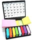 Libetui Megabox Boîte de notes adhésives, post-it autocollants repositionnables, 2 000feuilles disponibles dans 11 couleurs, 3formats, dans boîte en étui en cuir à rabat avec pochette transparente