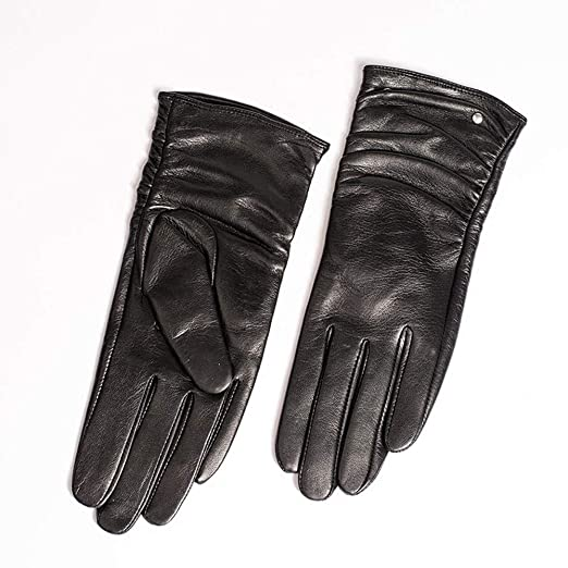 b57c3bbb7fa49 Agelec Women's Leather Gloves Locomotive Touch Screen Gloves Autumn and  Winter Plus Velvet Thick Warm Riding
