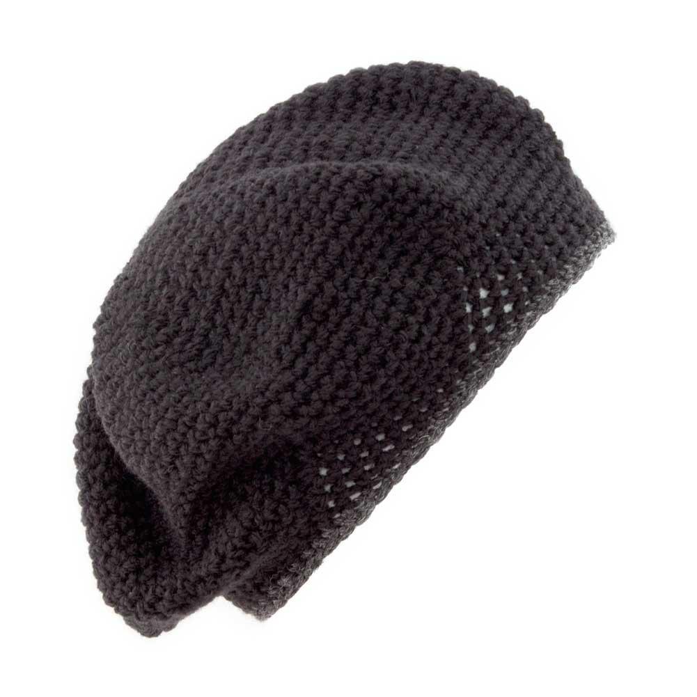 8afaaf9f POM Handmade Crochet Beret/Tam Hat [Black with Charcoal Rim]: Amazon.co.uk:  Clothing
