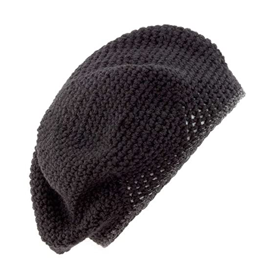 8e73a36a Image Unavailable. Image not available for. Colour: POM Handmade Crochet  Beret/Tam Hat [Black ...