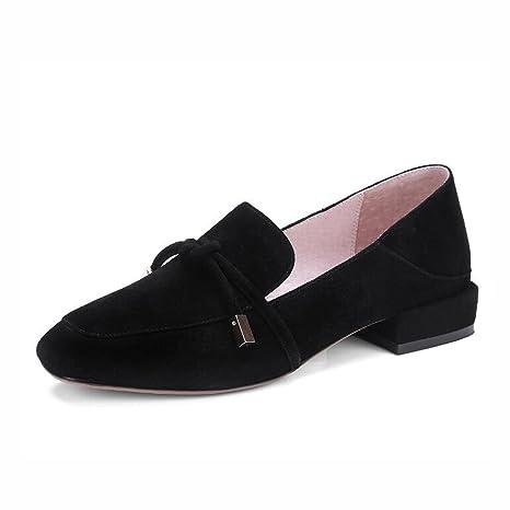ZZZJR Vendaje de las mujeres decoradas mocasines zapatos de cuero zapatos apuntados planos con zapatos perezosos