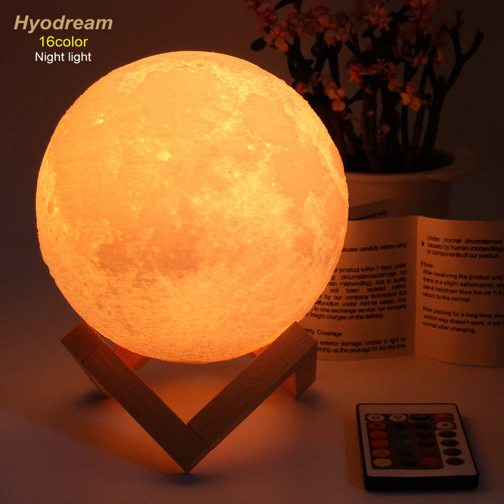 HYODREAM Moon Lamp Moon Light Night Light for Kids Gift for Women USB Charging and Touch and Remote Control Brightness 3D Printed 16colors Lamp (5.9 Inch Moon Light with Wooden Bracket) by HYODREAM (Image #2)