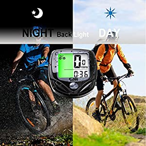 Aokay Multi Function Bike Computer Wireless Waterproof Digital LCD Back Light Bicycle Cycling Odometer Speedometer Distance Tracking Unit with 16 Functions