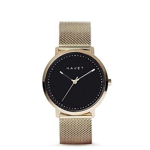 HAVET | Reloj de mujer Dyna de acero color oro esfera negra y brazalete de malla: Amazon.es: Relojes