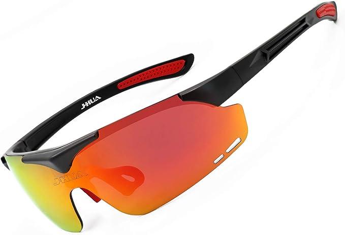 JHUA Gafas de sol deportivas polarizadas con 3 lentes UV400 flexibles ciclismo gafas hombres mujeres