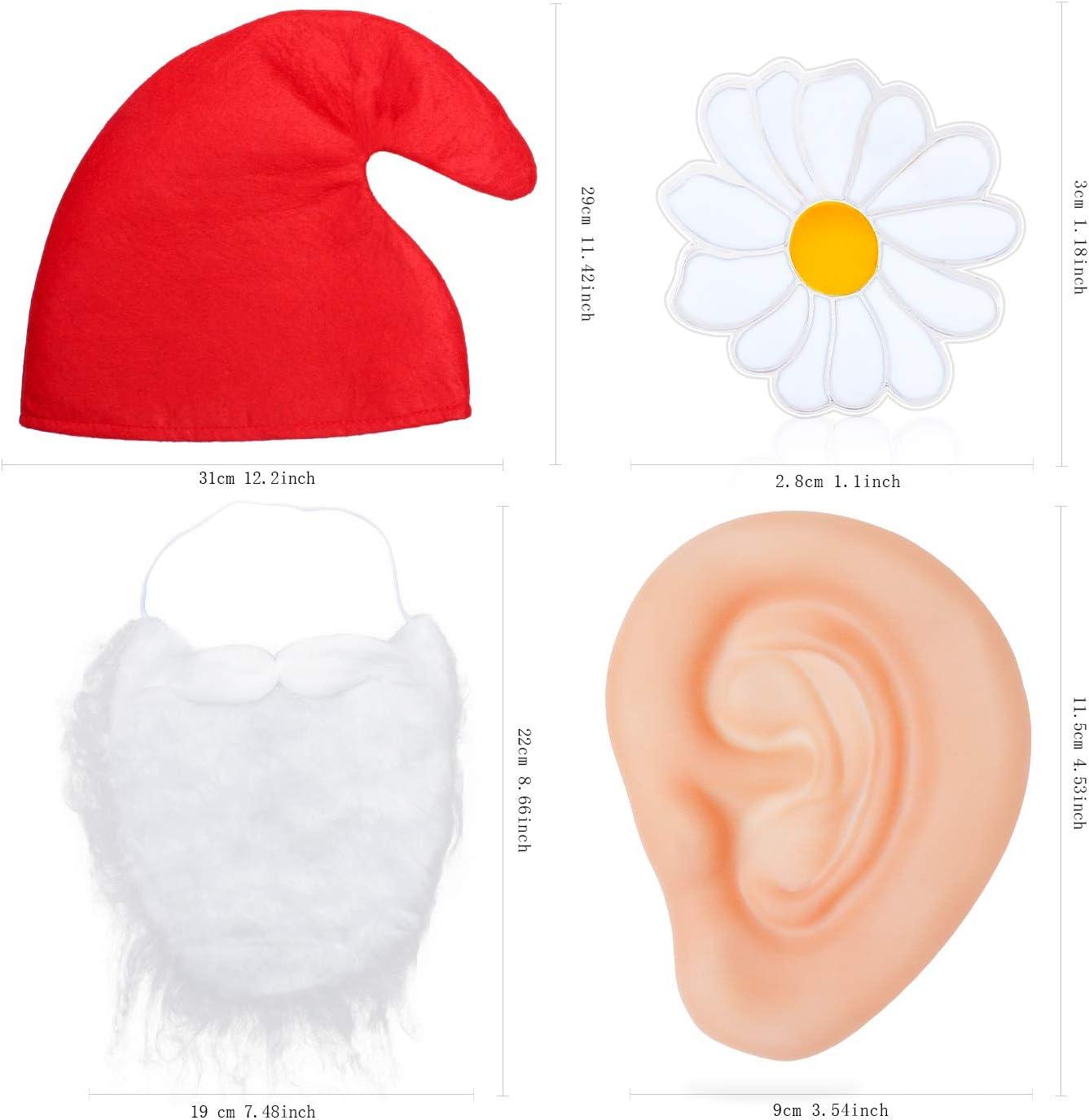 Abito Fantasia Nano Rosso Cappello Barba Grandi Orecchie Spilla Fiore Giallo Primavera Beelittle GNOME Nano da Giardino Accessori per Fairytail